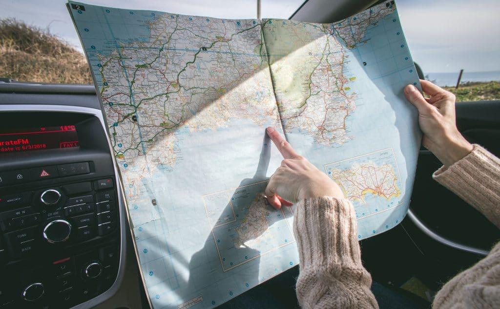 carte routière d'itinéraire de voyage